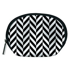 Black And White Herringbone Accessory Pouch (medium) by retrotoomoderndesigns