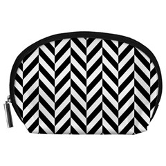 Black And White Herringbone Accessory Pouch (large) by retrotoomoderndesigns