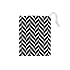 Black And White Herringbone Drawstring Pouch (small) by retrotoomoderndesigns