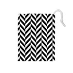 Black And White Herringbone Drawstring Pouch (Medium) Front