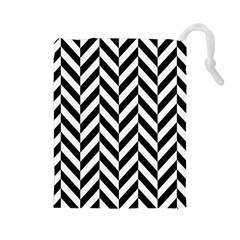 Black And White Herringbone Drawstring Pouch (large) by retrotoomoderndesigns