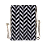 Black And White Herringbone Drawstring Bag (Small) Front