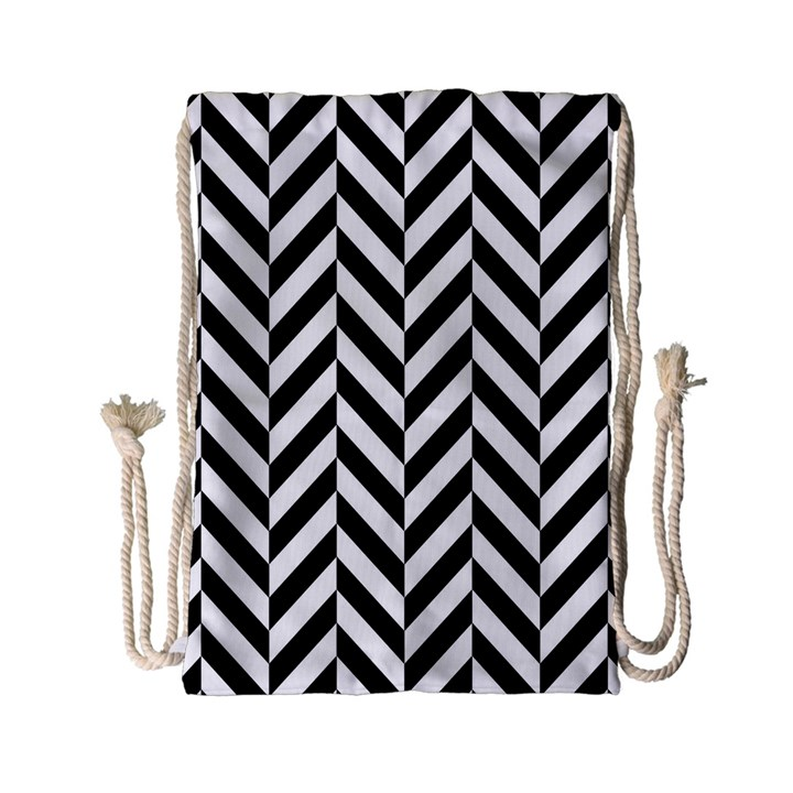 Black And White Herringbone Drawstring Bag (Small)