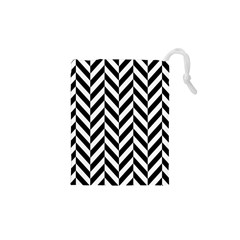 Black And White Herringbone Drawstring Pouch (xs) by retrotoomoderndesigns