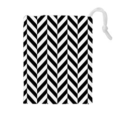 Black And White Herringbone Drawstring Pouch (xl)