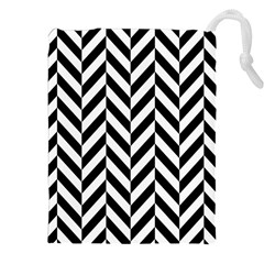 Black And White Herringbone Drawstring Pouch (xxl) by retrotoomoderndesigns