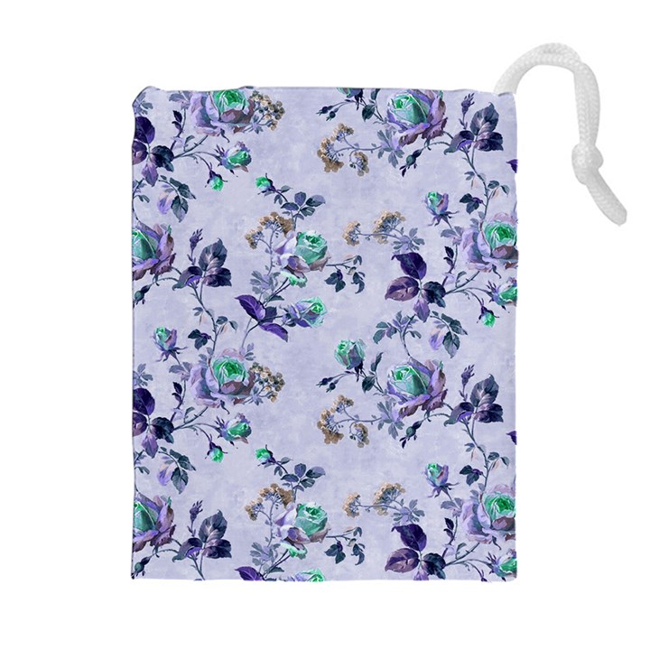 Vintage Roses Purple Drawstring Pouch (XL)
