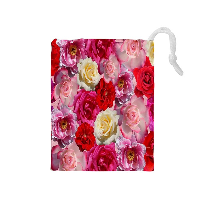 Bed Of Roses Drawstring Pouch (Medium)