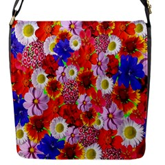 Multicolored Daisies Flap Closure Messenger Bag (s)