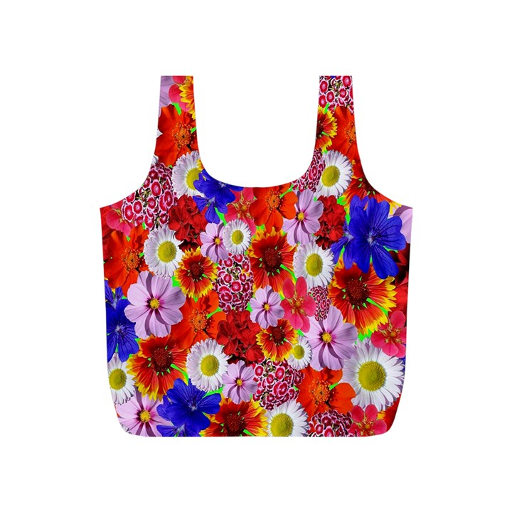 Multicolored Daisies Full Print Recycle Bag (S)