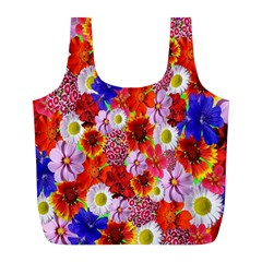 Multicolored Daisies Full Print Recycle Bag (l)