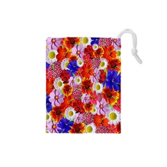 Multicolored Daisies Drawstring Pouch (small)
