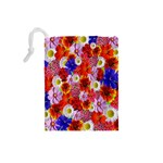 Multicolored Daisies Drawstring Pouch (Small) Back