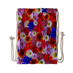 Multicolored Daisies Drawstring Bag (small)