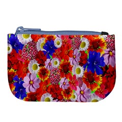 Multicolored Daisies Large Coin Purse