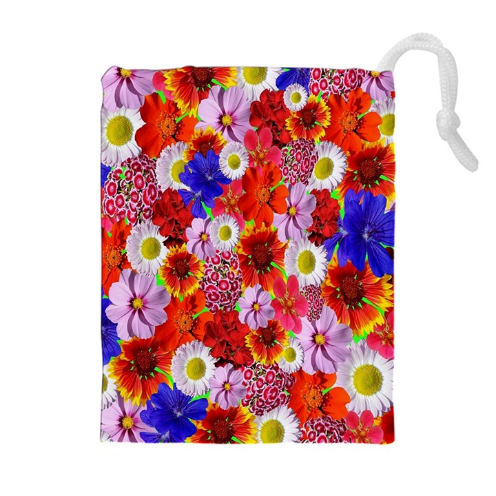 Multicolored Daisies Drawstring Pouch (XL)