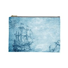 Sail Away   Vintage   Cosmetic Bag (large) by WensdaiAddamns