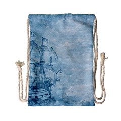 Sail Away   Vintage   Drawstring Bag (small) by WensdaiAddamns