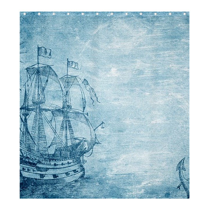 Sail Away - Vintage - Shower Curtain 66  x 72  (Large)