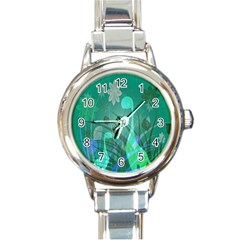 Dinosaur Family   Green   Round Italian Charm Watch by WensdaiAddamns