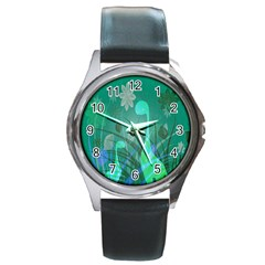 Dinosaur Family   Green   Round Metal Watch by WensdaiAddamns