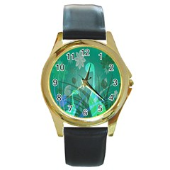 Dinosaur Family   Green   Round Gold Metal Watch by WensdaiAddamns