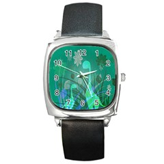 Dinosaur Family   Green   Square Metal Watch