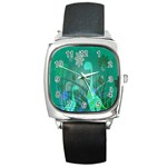 Dinosaur Family - Green - Square Metal Watch Front