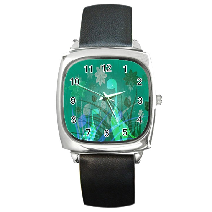 Dinosaur Family - Green - Square Metal Watch
