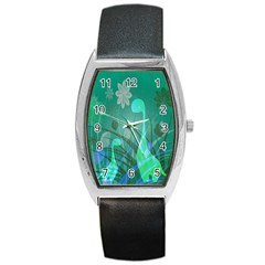 Dinosaur Family   Green   Barrel Style Metal Watch by WensdaiAddamns