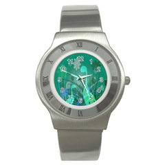 Dinosaur Family   Green   Stainless Steel Watch by WensdaiAddamns