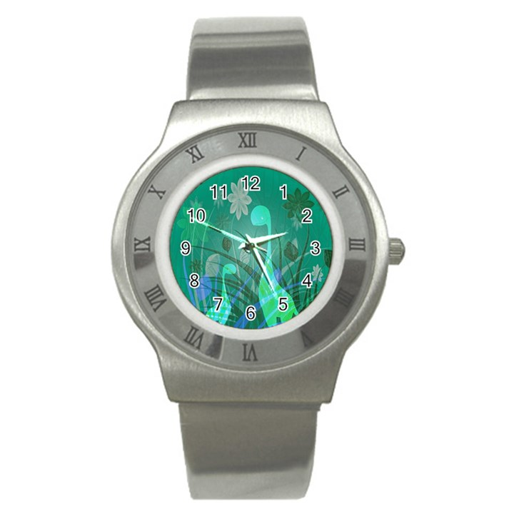 Dinosaur Family - Green - Stainless Steel Watch