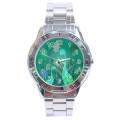 Dinosaur Family   Green   Stainless Steel Analogue Watch by WensdaiAddamns