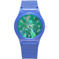 Dinosaur Family   Green   Round Plastic Sport Watch (s) by WensdaiAddamns