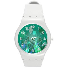 Dinosaur Family   Green   Round Plastic Sport Watch (m) by WensdaiAddamns
