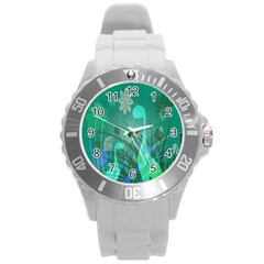Dinosaur Family   Green   Round Plastic Sport Watch (l) by WensdaiAddamns