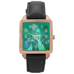 Dinosaur Family   Green   Rose Gold Leather Watch  by WensdaiAddamns