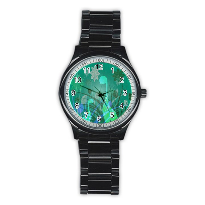 Dinosaur Family - Green - Stainless Steel Round Watch