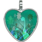 Dinosaur Family - Green - Heart Necklace Front