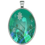 Dinosaur Family - Green - Oval Necklace Front