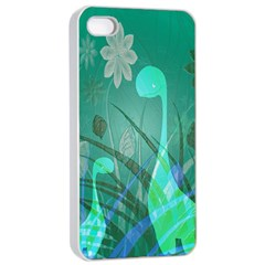 Dinosaur Family   Green   Apple Iphone 4/4s Seamless Case (white) by WensdaiAddamns