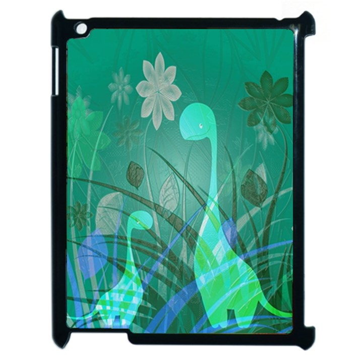 Dinosaur Family - Green - Apple iPad 2 Case (Black)