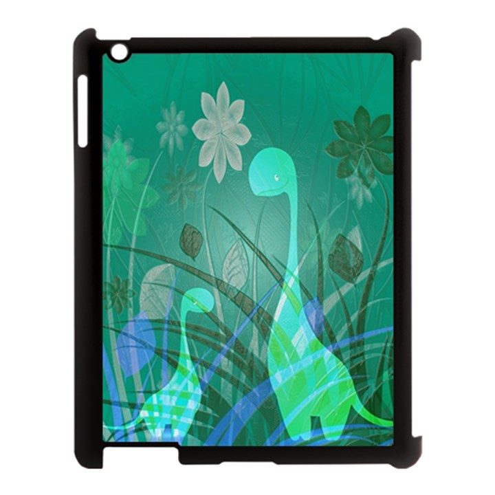 Dinosaur Family - Green - Apple iPad 3/4 Case (Black)