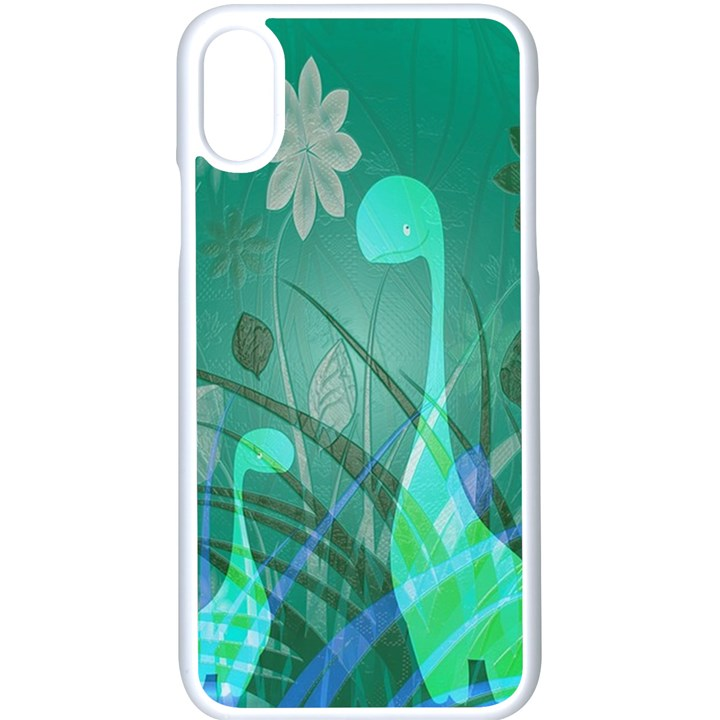 Dinosaur Family - Green - Apple iPhone X Seamless Case (White)