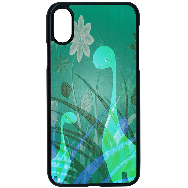 Dinosaur Family - Green - Apple iPhone X Seamless Case (Black)