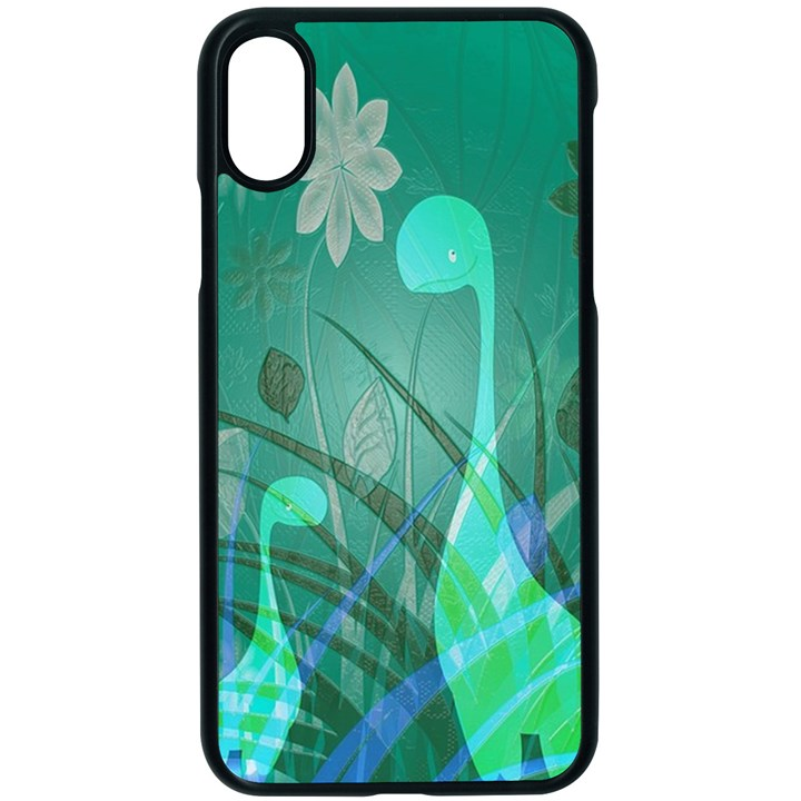 Dinosaur Family - Green - Apple iPhone XS Seamless Case (Black)