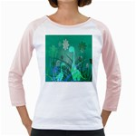 Dinosaur Family - Green - Girly Raglan Front