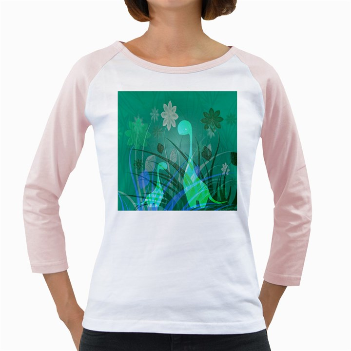 Dinosaur Family - Green - Girly Raglan