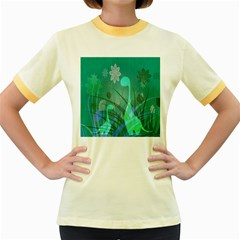 Dinosaur Family   Green   Women s Fitted Ringer T Shirt by WensdaiAddamns