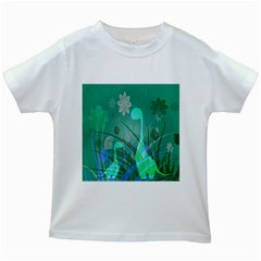 Dinosaur Family   Green   Kids White T Shirts